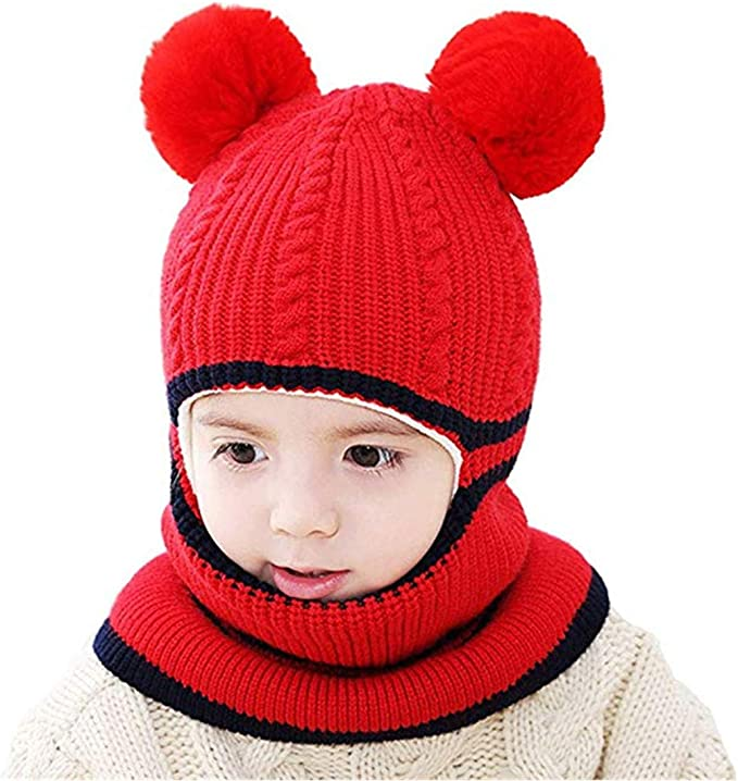 1 Set Baby Boy Girls Winter Warm Pom Bobble Beanie Ski Hat Cap Scarf Scarves AB