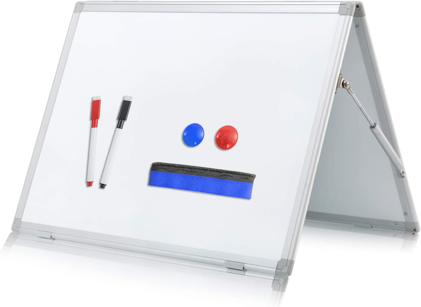 Small Dry Erase White Board -Mini Magnetic Desktop Portable Whiteboard Easel for Kids -Double Sided, Foldable, Protect Your Hands