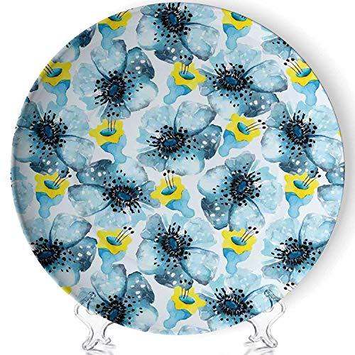 YOLIYANA Watercolor Flower Porcelain Plates Ceramic Decorative Plates,Vintage Pattern with Poppy Flower Watercolor Art Effect,8 Inch (Vintage Poppy Plates)