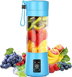 Portable Blender, Personal Blender, Small Fruit Mixer with 6 Blades, Electric USB Rechargeable Juicer Cup, Fruit Mixing Machine Home,Travel,BBQ (gzj1-Blue)
