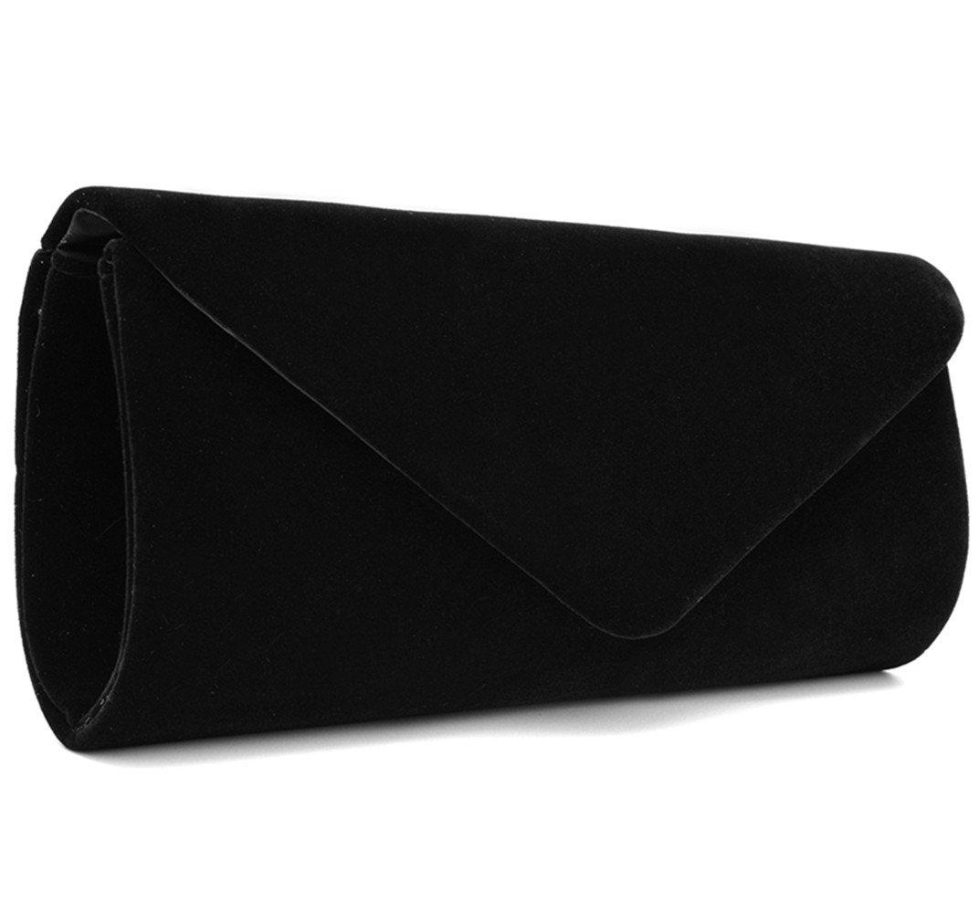 U-Story Women's Evening Wedding Party Velvet Envelope Clutch Bag Tote Purse Handbag (Black)