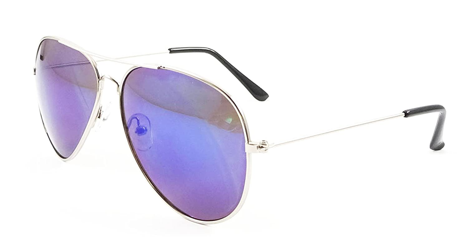 1fd697686f1 Ultra Silver Frame with Blue Mirrored Style Lenses Childrens Kids Classic  Pilot Style Sunglasses UV400 UVA UVB protection  Amazon.co.uk  Clothing