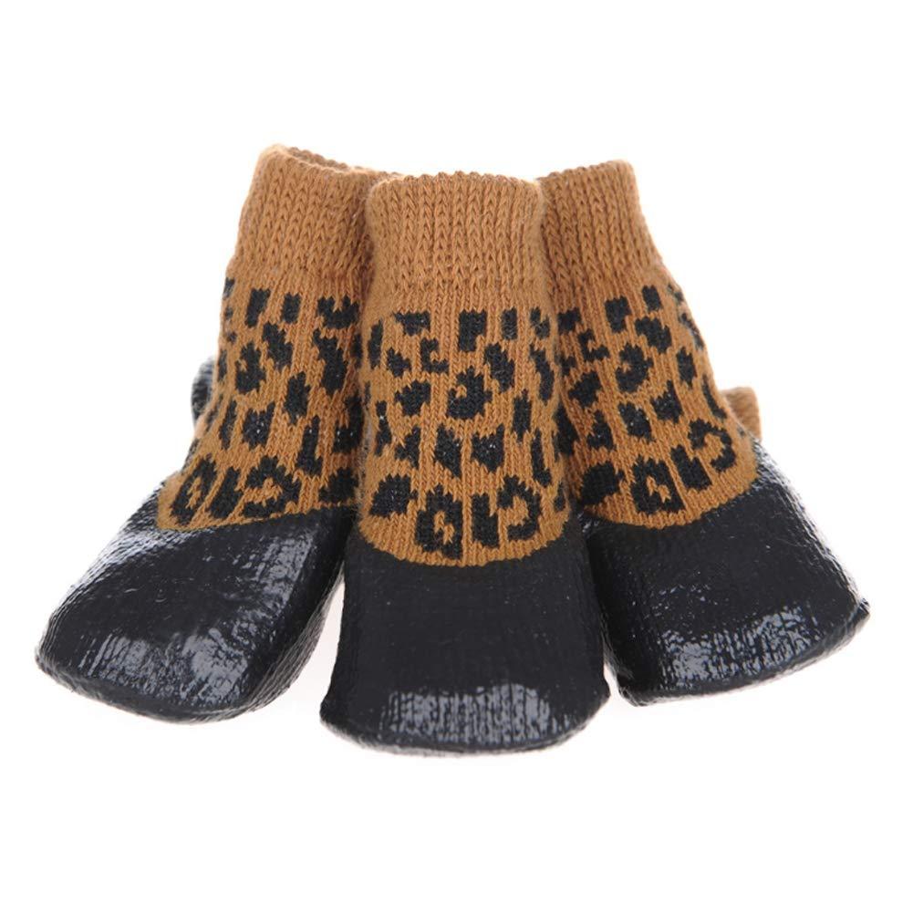 Leopardcolor XXXLTzddWrqq Predective Dog Socks Anti Slip For Indoor Wear Paw Predection Pet Snow Boots Windproof Winter shoes Outdoor Sports Waterproof Non Resistant Cotton Dust Autumn 4Pcs,Leopardcolor,XXXL
