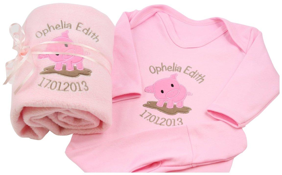 eb58bb8ed6c6 Baby Girl Personalised Embroidered Pig Gift Set Blanket   Sleepsuit (6-12  Months)  Amazon.co.uk  Baby