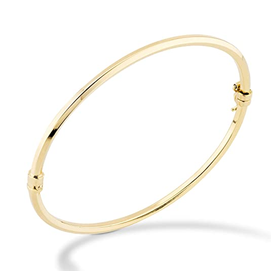 "MiaBella 18K Gold Over Sterling Silver Italian Hinged Bangle Bracelet for Women Girls, 6.75 to 8 Inch, 925 Made in Italy (Medium (7.25"" to 7.5""))"