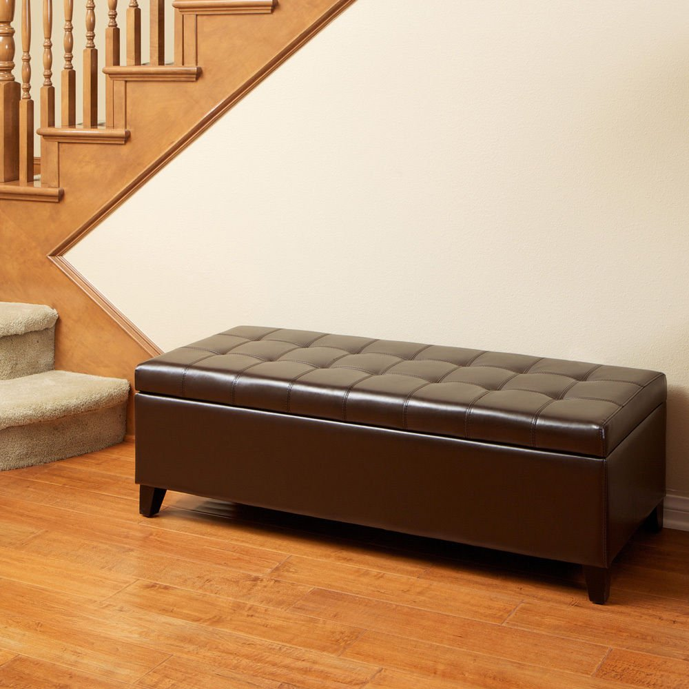 Elegant Design Brown Leather Storage Ottoman Bench w/ Tufted Top + FREE E-Book by Eight24hours