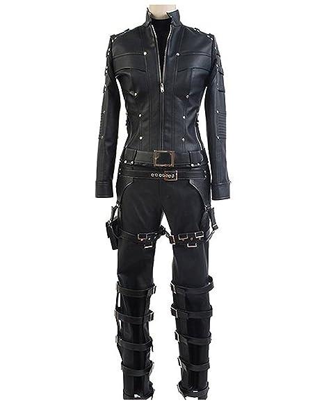 Amazon.com: tisea mujeres disfraz de cosplay negro PU ...