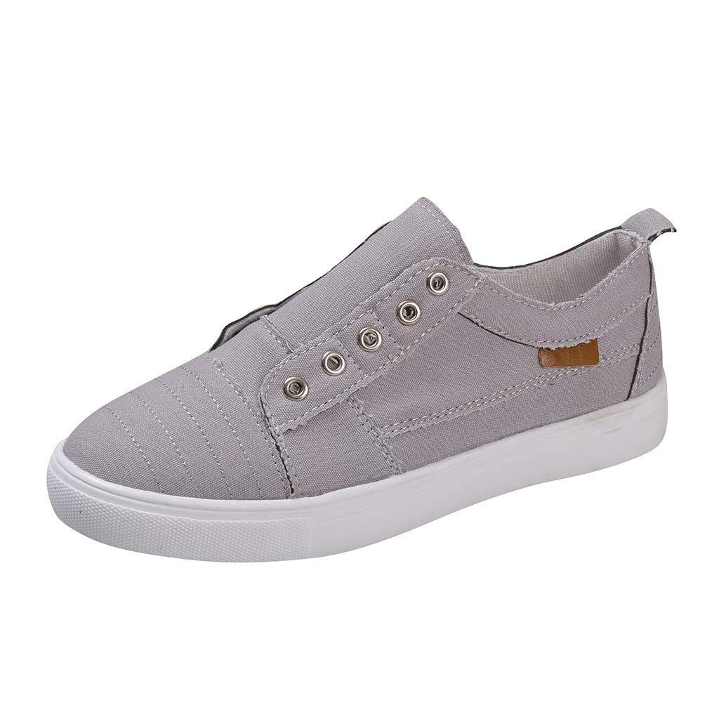 Shusuen Women's Canvas Shoes Casual Slip on Sneaker Gray by Shusuen_shoes