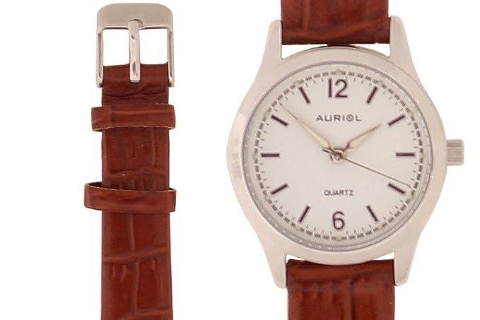 Reloj de pulsera de mujer Auriol®, caja de acero inoxidable con piel de alta calidad: Amazon.es: Relojes