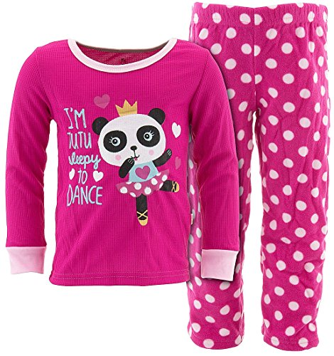 Duck Duck Goose Little Girls' Pink Panda Pajamas (Little Goose Girl)
