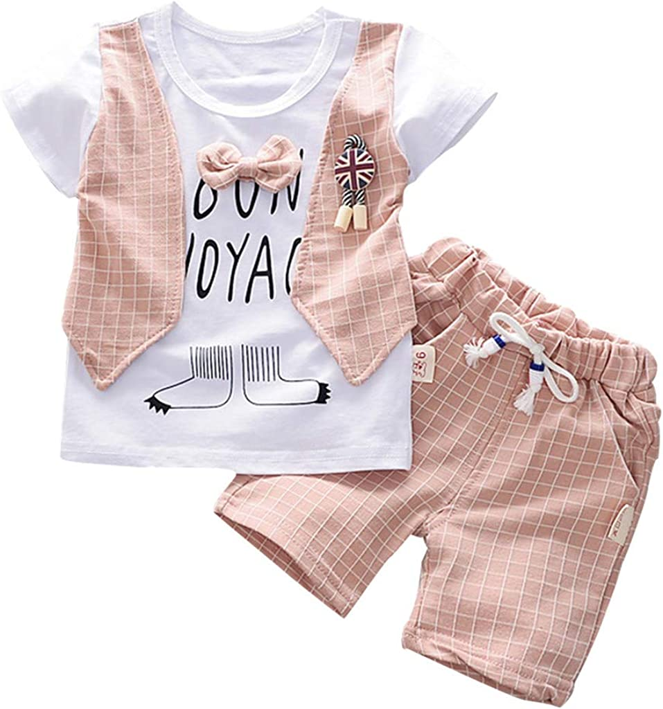 KASSD Baby Boys Short Sleeve Bow Tie Top T-Shirt Striped Pocket Shorts Two-Piece Set