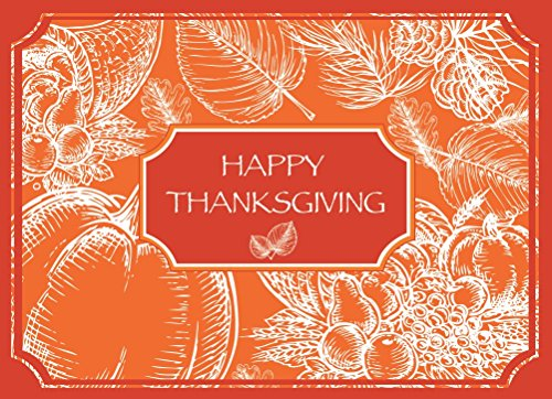 """Thanksgiving Greeting Card TH1604. Stylized illustration surrounds """"HappyThanksgiving"""". Suitable for personal or business; gold foil-lined envelopes."""
