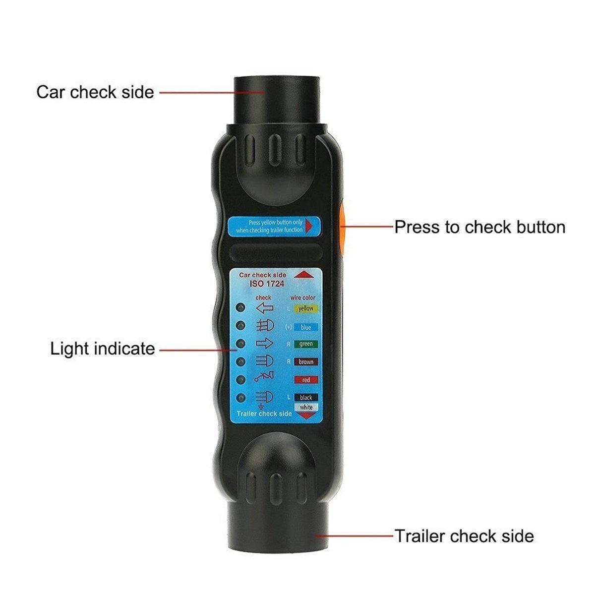 Yosoo Towing Trailer 7-pin 12V Car Truck Vehicle Trailer Plug Socket Connection Tester Wiring Circuit Light Diagnostic Tool