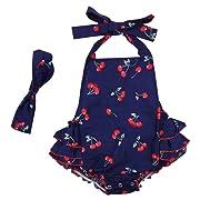DQdq Baby Girls' Floral Print Ruffles Romper Summer Dress Blue Cherry 6 Month