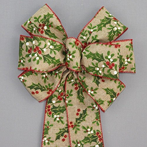 Holly Berry Rustic Linen Christmas Wreath Bow - available in 2 sizes - Christmas Wreath Holly Bow