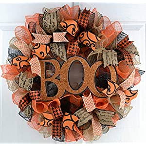 Halloween Door Wreaths | Boo Mesh Outdoor Front Door Wreath; Black Jute Orange Burlap 29
