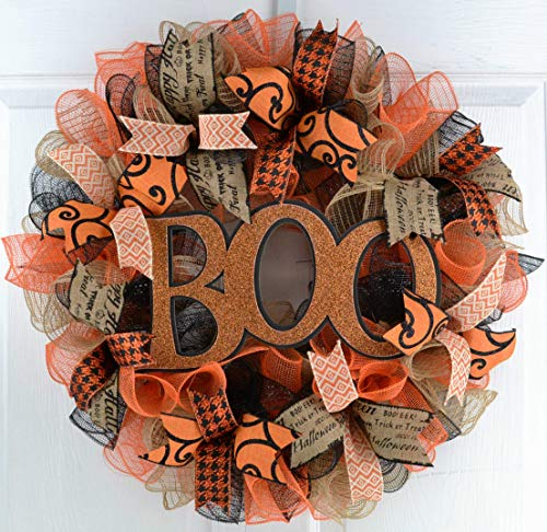 Halloween Door Wreaths | Boo Mesh Outdoor Front Door Wreath; Black Jute Orange Burlap
