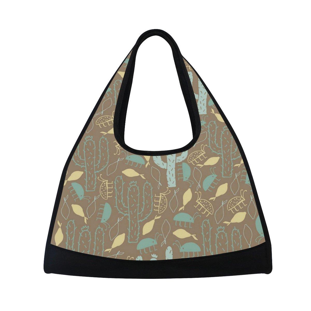 Sport Gym Bag Tropical Plants Cactus Pattern Canvas Travel Duffel Bag