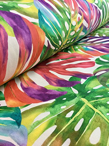 Fabric Polyacrylic - HomeBuy Tropical Palm Leaves Fabric Curtain Upholstery Cotton Material Jungle Palm Leaf / 140Cm Wide Green Red Pink