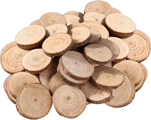 100Pcs Unfinished Wood Slices Wooden Pieces for Wedding Decor Home Decoration