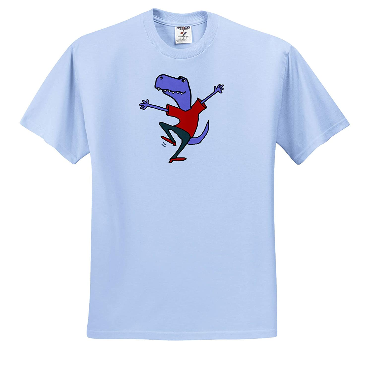 3dRose All Smiles Art ts/_319322 Funny Cute Happy Blue T-rex Dinosaur Dancing Cartoon Funny Adult T-Shirt XL
