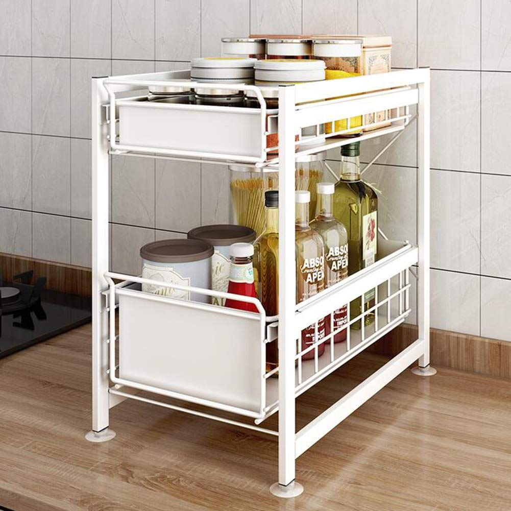 Kitchen Household Rack Under The Sink Rack Floor Type Kitchen Under Push And Pull Storage Retractable Debris Cabinet Supplies Cabinet Under The Finishing Rack YIXIN ( Color : A , Size : 43.53145cm )