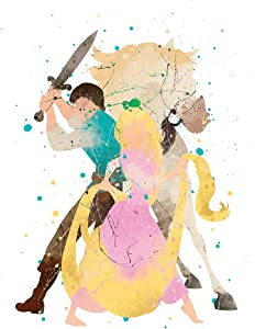 PGbureau Rapunzel Poster – Tangled Wall Art Print Decor – Nursery Kids Bedroom Artwork – Movie Birthday Party (8x10)