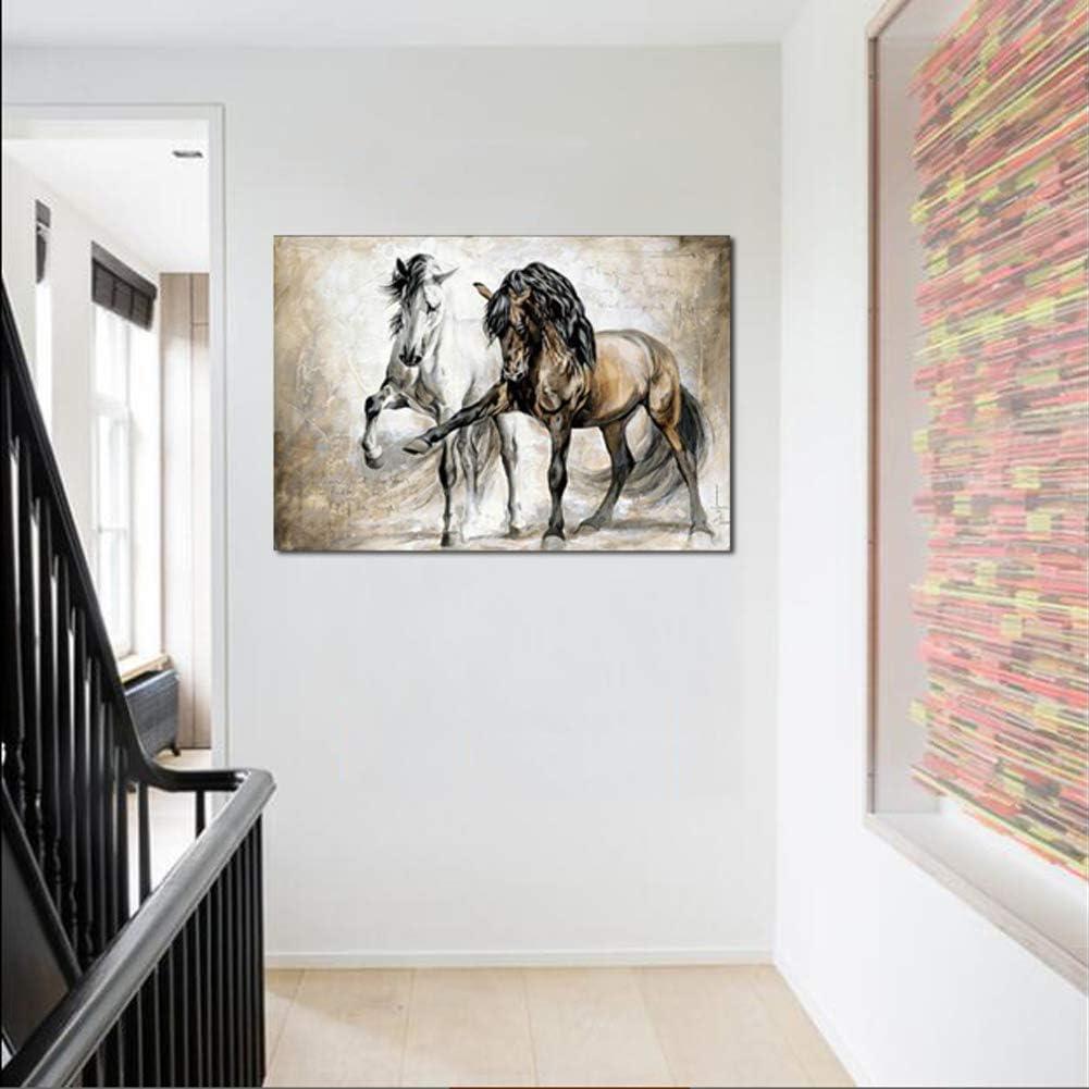 MINRAN DECOR Impression sur Toile Mur Photos R/étro Vintage Brun Animal Cheval Art Affiche Affiche pour Salon D/écoration No Frame,13X18cm
