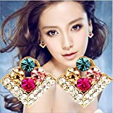 Lucrative shop Jewelry Wholesale Square Mixed Color Brilliant Rhinestone Earrings For Women E-73