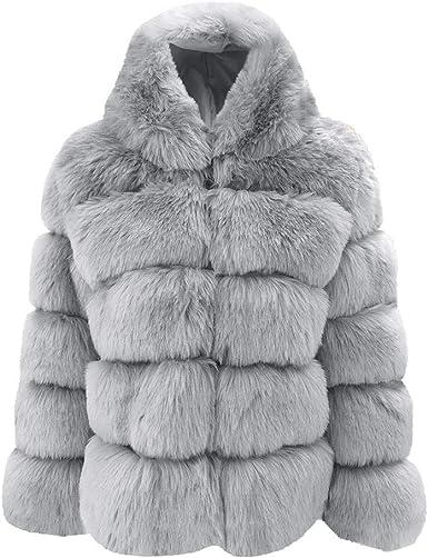 OSYARD Manteaux Femme Hiver Coat Fausse Fourrure Fox à Capuche Parka Blousons Court Gilet Patchwork Cardigan Chaud Hiver