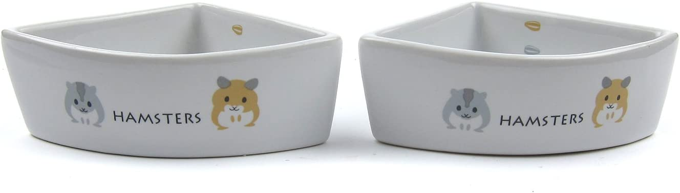 Alfie Pet - Seren Ceramic 2-Piece Set Food and Water Water Bowl for Mouse, Chinchilla, Rat, Gerbil and Dwarf Hamster - Color: White