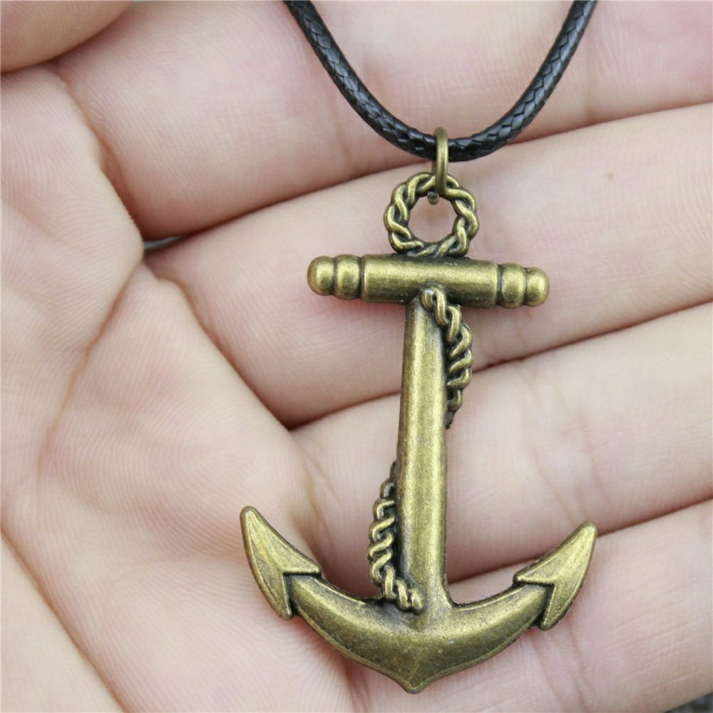 NEWME Anchor Charms Leather Chain Necklace For Christmas Handmade Jewelry Kraftpaper Box Gifts