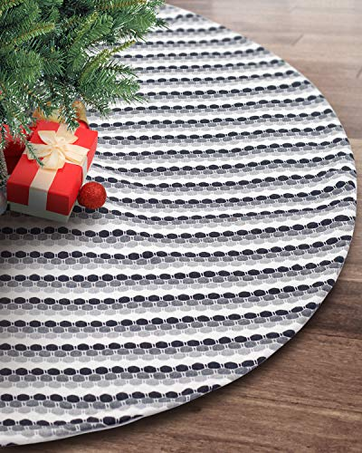 S-DEAL 48 Inches Wool Knitted Christmas Tree Skirt Double Layers Carpet Décor for Party Holiday Xmas Ornaments Gift Black Grey and White