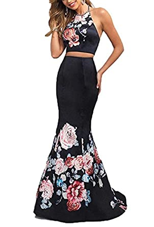 YSMei Womens Vintage Floral Print Prom Dresses Long Evening Formal Party Gown Black 2