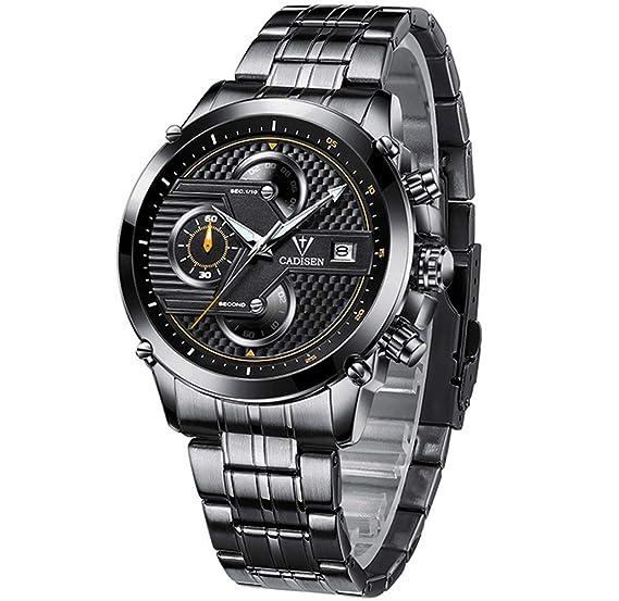 Relojes de hombre, Reloj de pulsera de acero inoxidable, informal de negocios cuarzo analógico