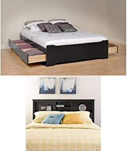 Prepac Sonoma Queen Bed and Headboard - Black