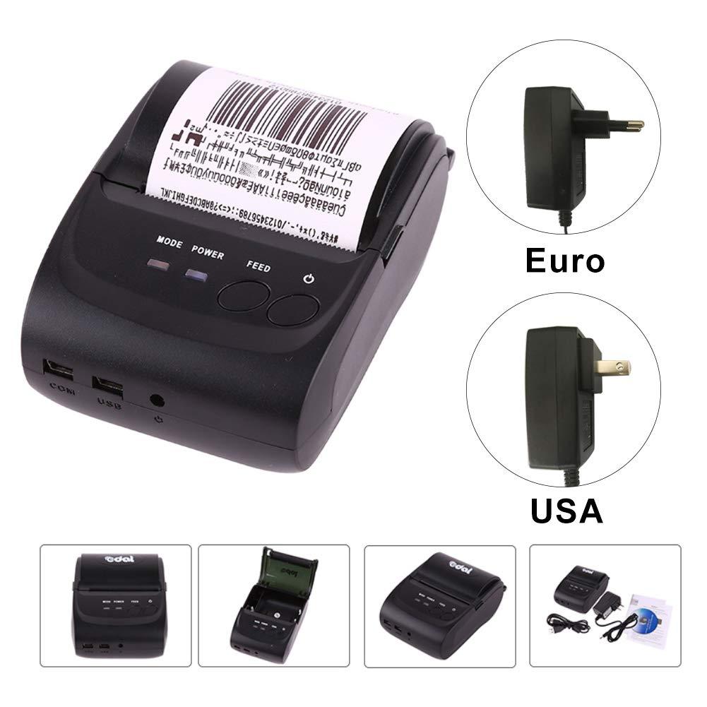 Edal Portable Mini Bluetooth Printer Thermal Receipt Printer 58mm Bluetooth Pocket Printer Mobile Phone POS Thermal Receipt Printer Support iOS /& Android /& Windows Edal-C-US007US
