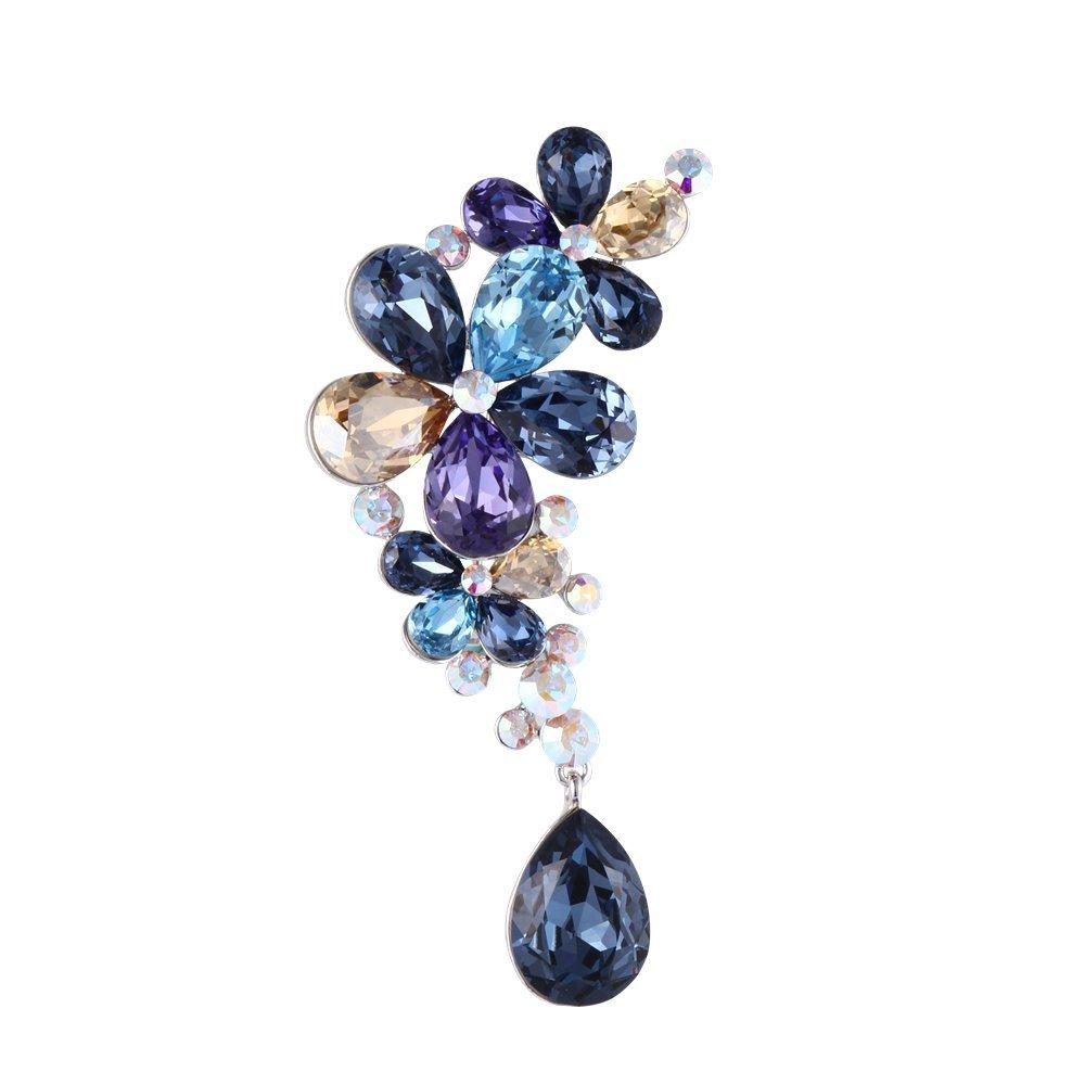 Exquisite Flower Drop-shaped Swarovski Crystal Rhinestone Brooch Woman's Brooch Pin Wedding Party Gift