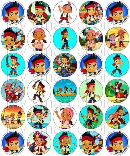 30 x Edible Cupcake Toppers – Jake and The Never Land Pirates Themed Collection of Edible Cake Decorations   Uncut Edible Prints on Wafer Sheet -