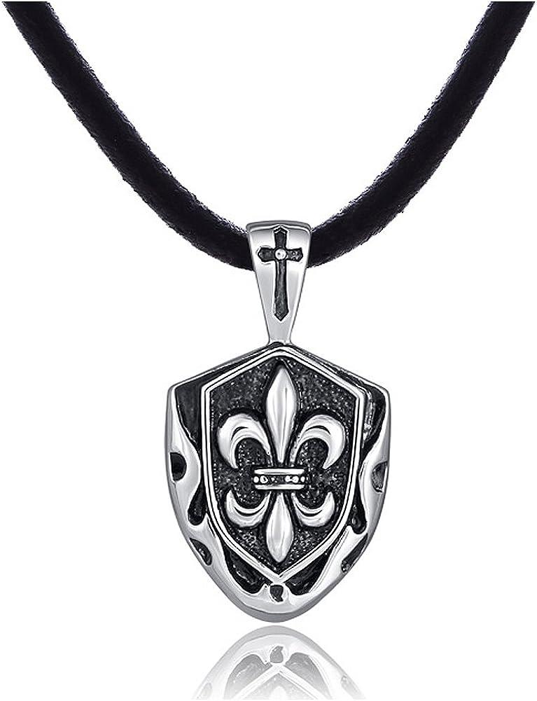 DonDon Collar de Cuero para Hombre 50 cm con Colgante de Acero Inoxidable - Diferentes Modelos