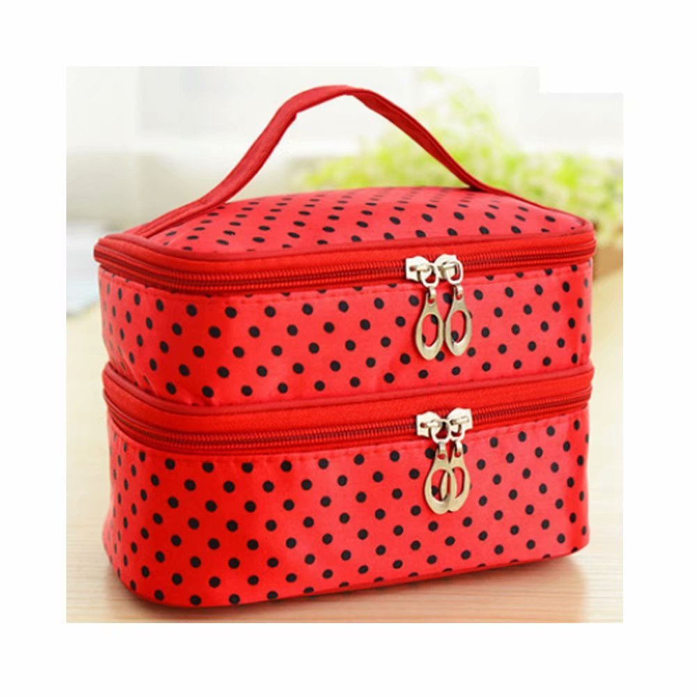 JOVANA Double Layer Cosmetic Bag Black with White Dot Travel Toiletry Cosmetic Makeup Bag Organizer With Mirror 58283