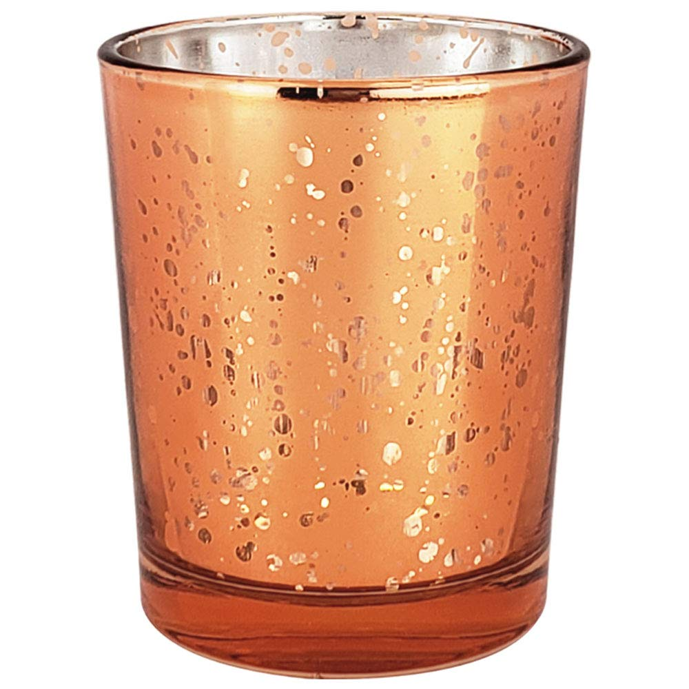Just Artifacts Mercury Glass Votive Candle Holder 2.75-Inch (72pcs, Speckled Copper) - Mercury Glass Votive Tealight Candle Holders for Weddings, Parties and Home Décor by Just Artifacts