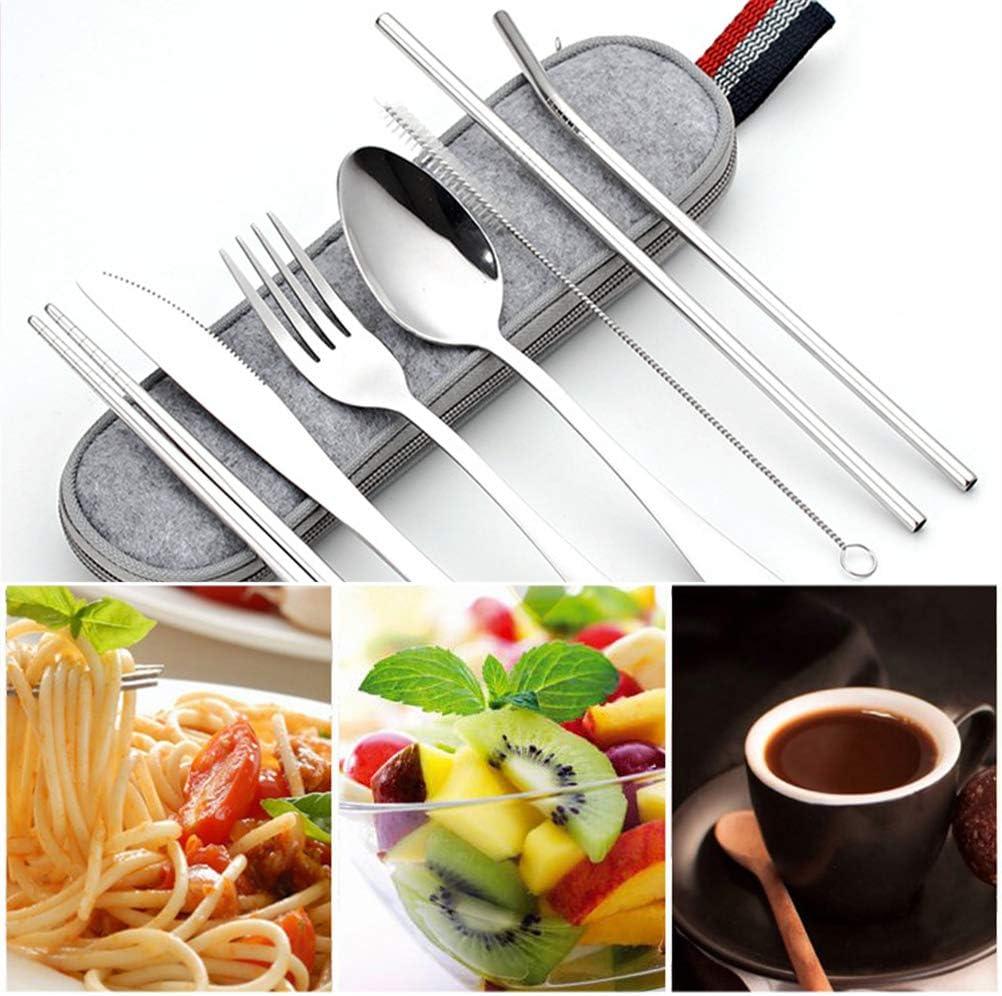 Silver-8 Piece nuoshen Travel Cutlery Set,Stainless Steel Flatware Set Knive//Fork//Spoon//Chopsticks//Straws//Brush//Portable Case