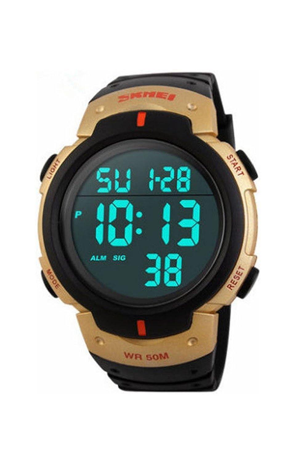 Reloj de pulsera - SKMEI Reloj de pulsera de LED luz digital impermeable de alarma y fecha regalo de deporte para hombre y mujer oro: Amazon.es: Relojes