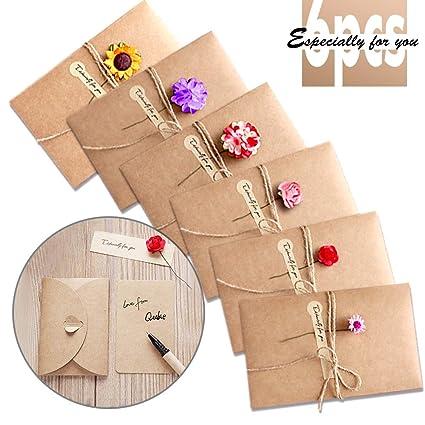 Tarjeta de Felicitación, Papel Kraft Retro Hecho a Mano Sobres en Blanco, Flores Secadas Postal Decorada para Navidad Cumpleaños Día de San Valentín ...