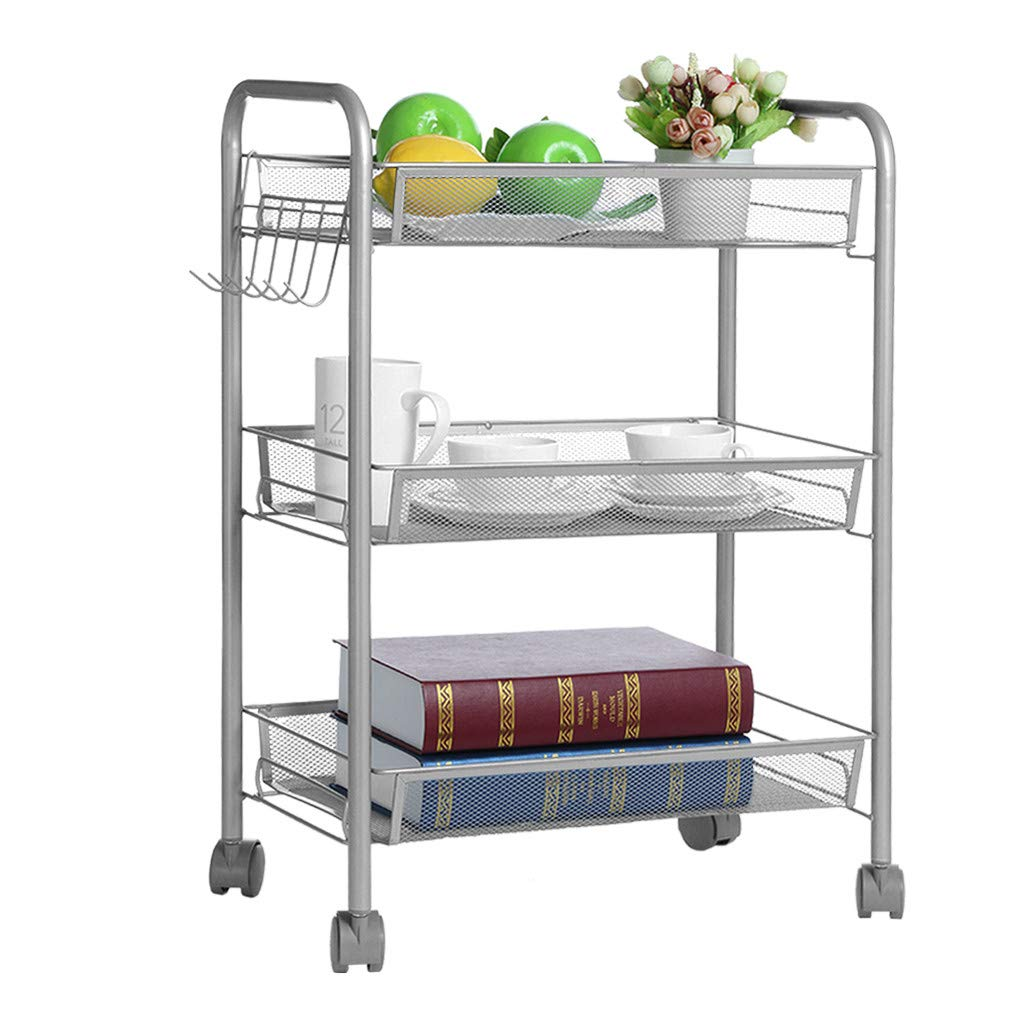 Kitchen Storage Cart 3-Tier Mesh Wire Rolling Cart Multifunction Utility Cart on Wheels, Steel Wire Basket Shelving Trolley with 6 Hooks (Silver)