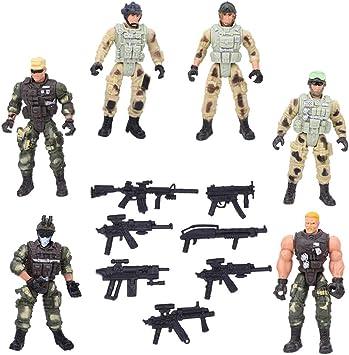 Zerodis Juguete de Figura de Soldado de 6 Piezas, Modelos de Soldados Militares con articulación y Armas Figuras de acción de interacción Entre Padres e Hijos Juguete para niños: Amazon.es: Juguetes y