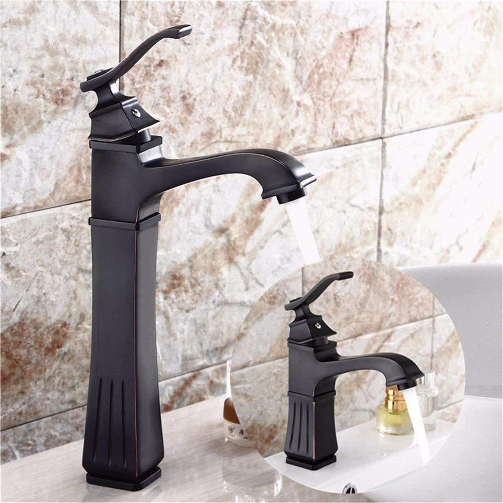 Low) Oudan Basin Mixer Tap Bathroom Sink Faucet The Copper black single hole basin faucet retro hot & cold water faucet Square, minimalist bathroom sink taps, low (color   Low)