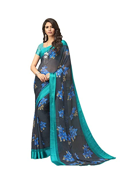 d7636adf87 Hopzgroup Grey And Sky Blue Color Faux Georgette Fabric Printed Latest  Design Traditional Saree With Blouse Piece For Women: Amazon.in: Clothing &  ...