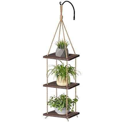 Amazon Com Mkono Wood Hanging Planter Shelf Plant Hanger 3 Tier